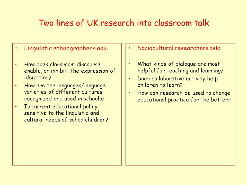 Linguistic ethnographers commonly emphasise that… Language and social life are mutually shaping Talk is always referential, interpersonal, emotive and evaluative Socialisation is a never ending process, mediated through talk and interaction Language genres are important features of educational culture Children use talk to negotiate and explore their identities Researchers should be critical of the status quo Social situations are unique and generalizations are risky See Creese (2008)