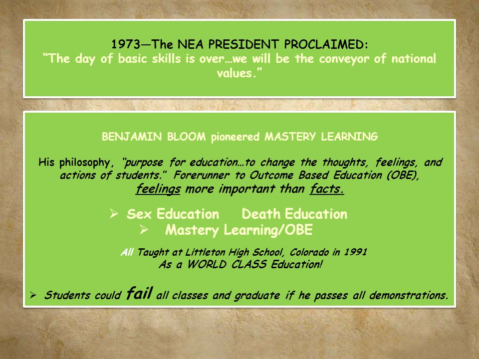 1973The NEA PRESIDENT PROCLAIMED: The day of basic skills is over…we will be the conveyor of national values. 1973The NEA PRESIDENT PROCLAIMED: The da