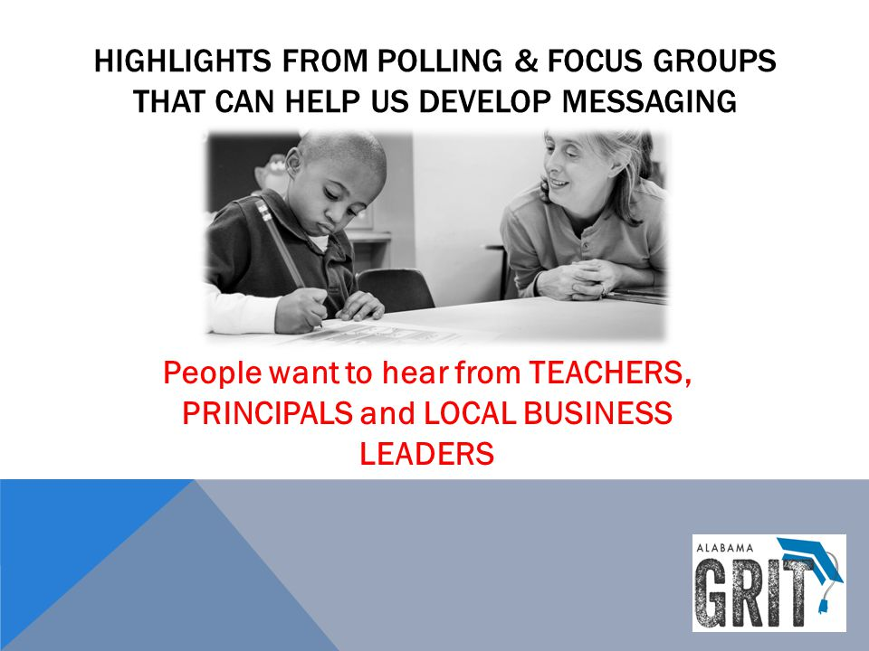HIGHLIGHTS FROM POLLING & FOCUS GROUPS THAT CAN HELP US DEVELOP MESSAGING People want to hear from TEACHERS, PRINCIPALS and LOCAL BUSINESS LEADERS