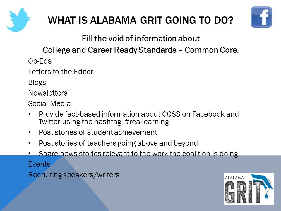 WHAT IS ALABAMA GRIT GOING TO DO? Fill the void of information about College and Career Ready Standards – Common Core. Op-Eds Letters to the Editor Bl