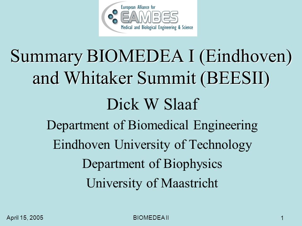 April 15, 2005BIOMEDEA II 12 Warning Harmonization should lead to international recognition of -educational degrees and -professional qualifications.