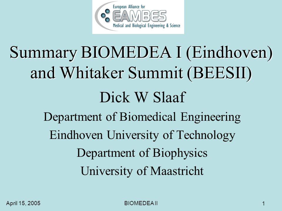 April 15, 2005BIOMEDEA II 1 Summary BIOMEDEA I (Eindhoven) and Whitaker Summit (BEESII) Dick W Slaaf Department of Biomedical Engineering Eindhoven University of Technology Department of Biophysics University of Maastricht