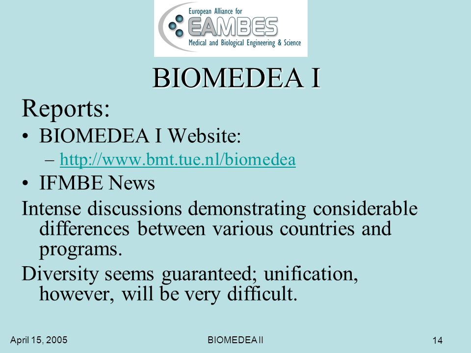 April 15, 2005BIOMEDEA II 14 BIOMEDEA I Reports: BIOMEDEA I Website: –http://www.bmt.tue.nl/biomedeahttp://www.bmt.tue.nl/biomedea IFMBE News Intense discussions demonstrating considerable differences between various countries and programs.
