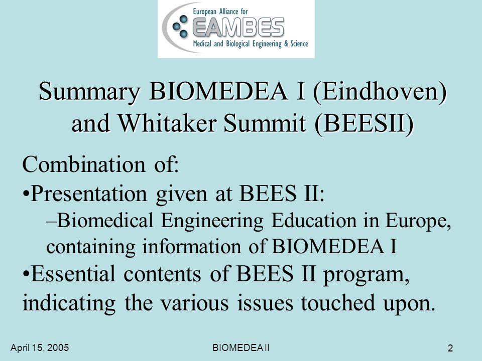 April 15, 2005BIOMEDEA II 33 Whitaker summit: BEES II Workshops Workshops were attended by 20-50 people.