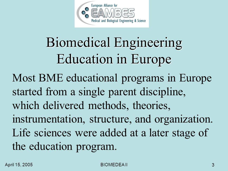 April 15, 2005BIOMEDEA II 24 BIOMEDEA I BME Master in Europe Parent discipline sometimes dominates the type of courses.
