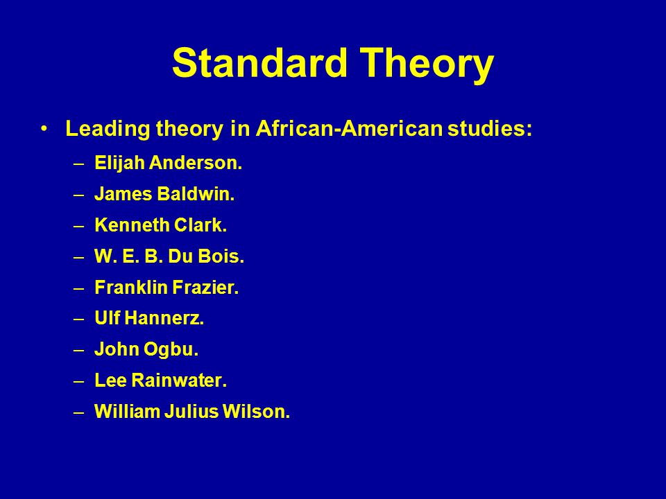 Standard Theory Leading theory in African-American studies: –Elijah Anderson.