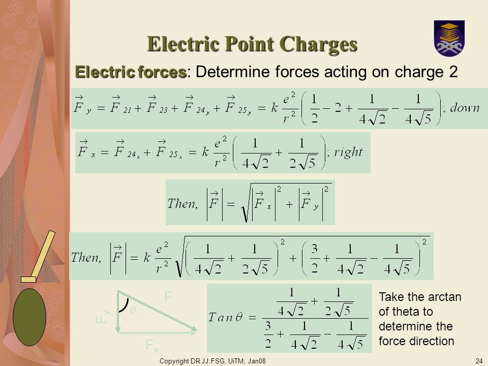 Copyright DR JJ,FSG, UiTM; Jan0824 Electric Point Charges Electric forces Electric forces: Determine forces acting on charge 2 F FxFx FyFy Take the arctan of theta to determine the force direction