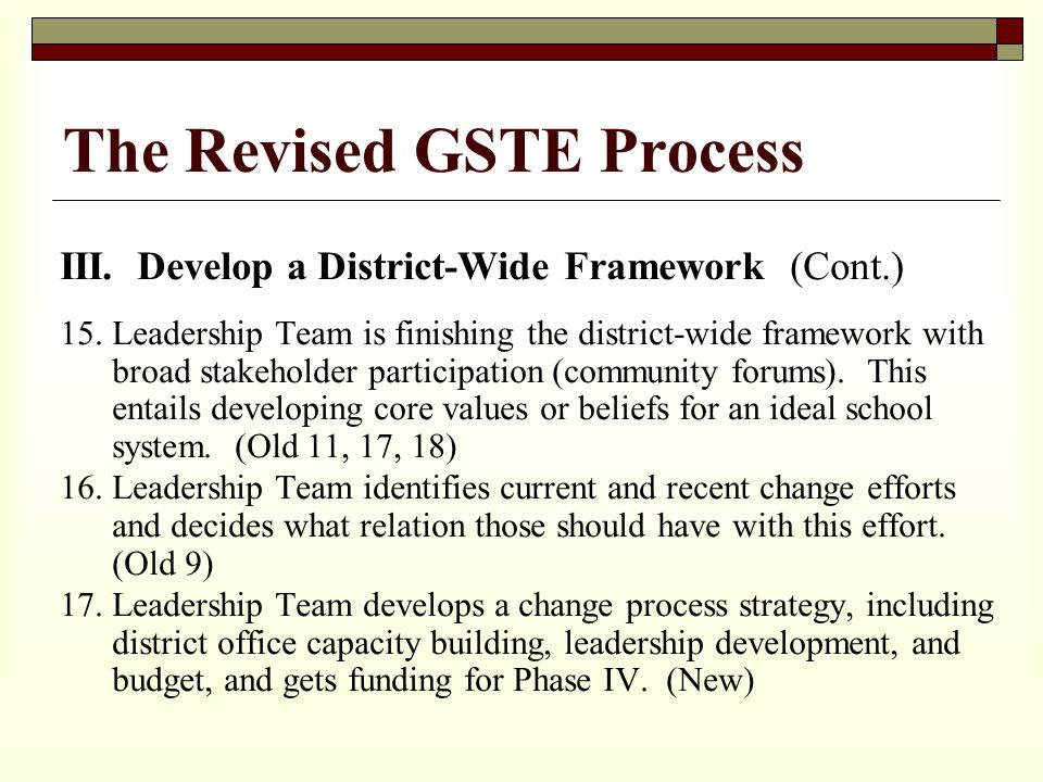III. Develop a District-Wide Framework (Cont.) 15.Leadership Team is finishing the district-wide framework with broad stakeholder participation (commu