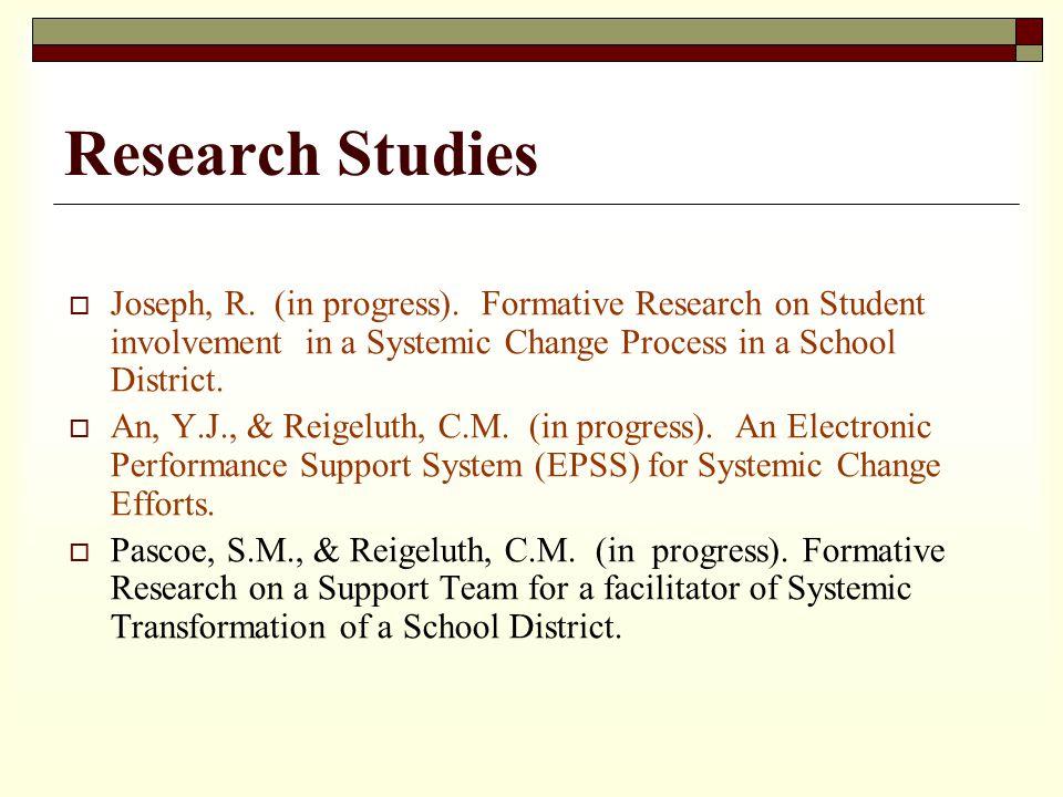 Research Studies Joseph, R. (in progress).
