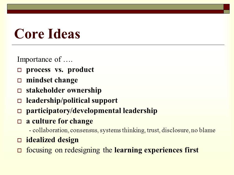 Core Ideas Importance of …. process vs.