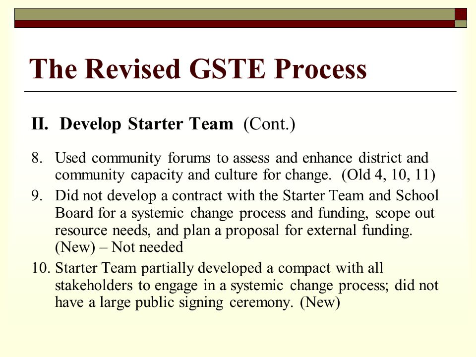 II. Develop Starter Team (Cont.) 8.Used community forums to assess and enhance district and community capacity and culture for change. (Old 4, 10, 11)
