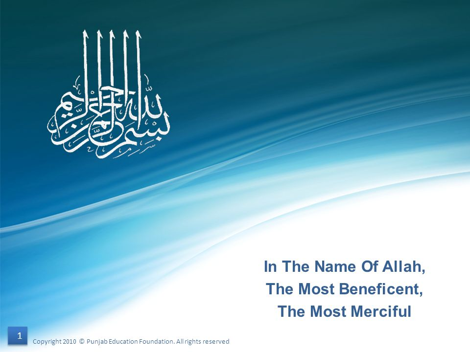 In The Name Of Allah, The Most Beneficent, The Most Merciful 1 1 Copyright 2010 © Punjab Education Foundation. All rights reserved