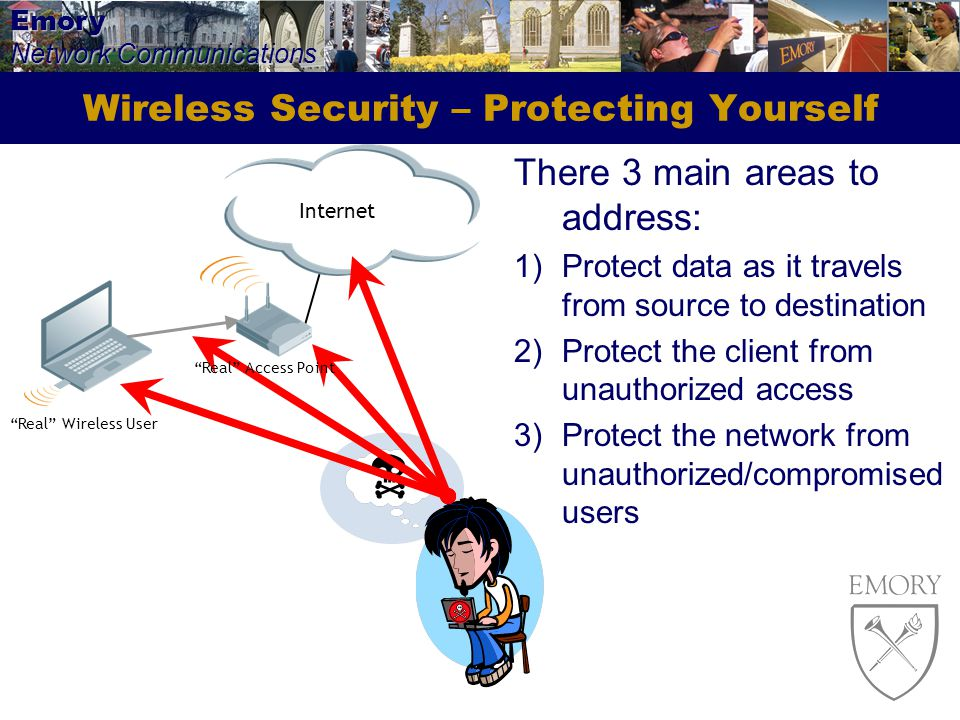 Emory Network Communications Wireless Security – Protecting Yourself There 3 main areas to address: 1)Protect data as it travels from source to destination 2)Protect the client from unauthorized access 3)Protect the network from unauthorized/compromised users Internet Real Wireless User Real Access Point