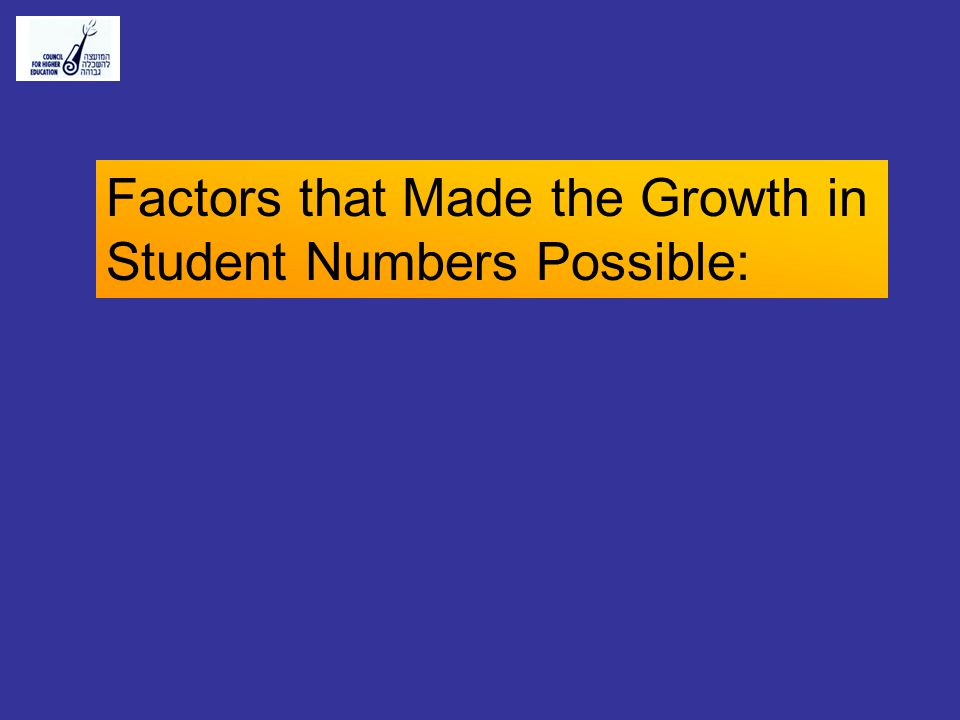 Factors that Made the Growth in Student Numbers Possible: