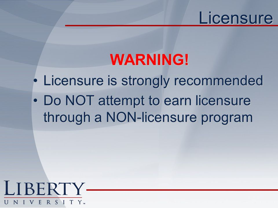 LicensureWARNING.