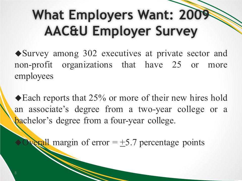 8 What Employers Want: 2009 AAC&U Employer Survey Survey among 302 executives at private sector and non-profit organizations that have 25 or more employees Each reports that 25% or more of their new hires hold an associates degree from a two-year college or a bachelors degree from a four-year college.