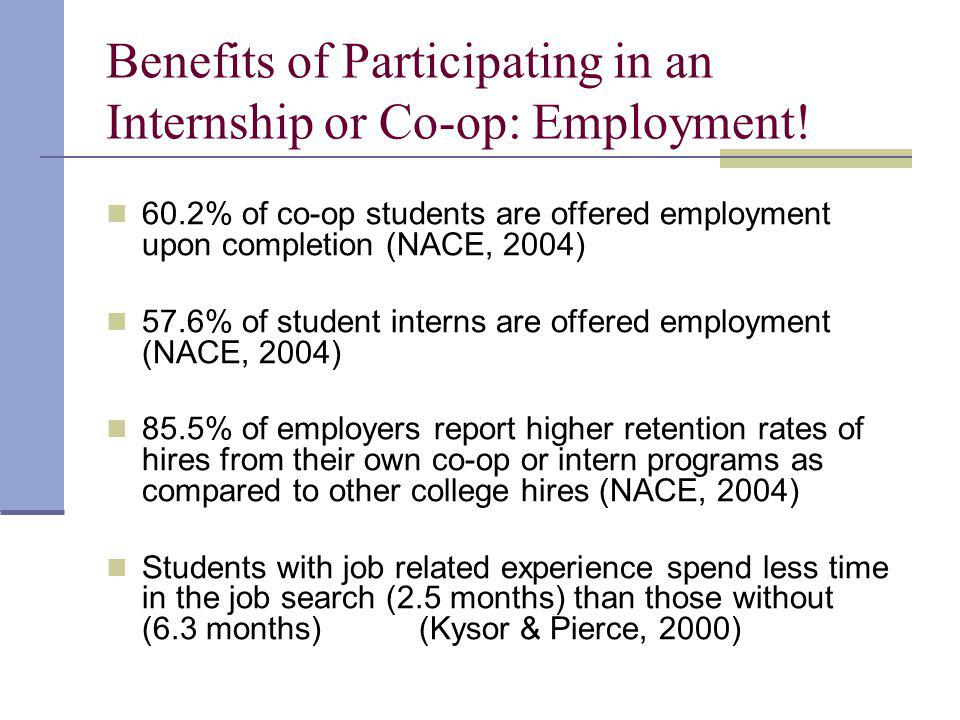 Benefits of Participating in an Internship or Co-op: Employment.