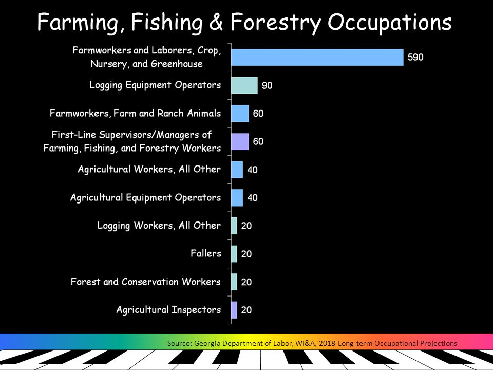 Farming, Fishing & Forestry Occupations Source: Georgia Department of Labor, WI&A, 2018 Long-term Occupational Projections
