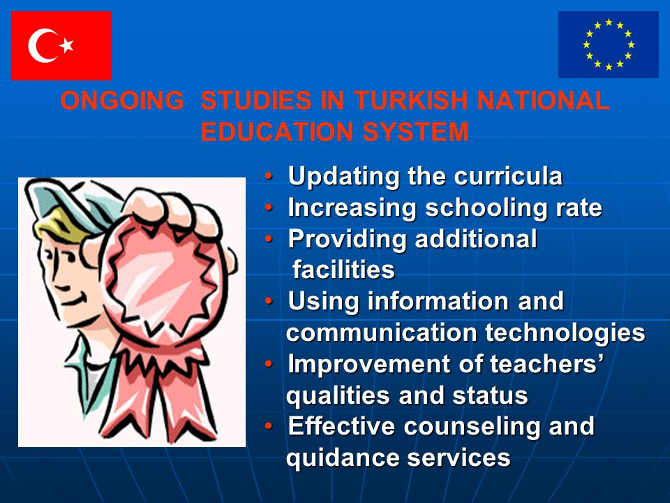 ONGOING STUDIES IN TURKISH NATIONAL EDUCATION SYSTEM Updating the curricula Updating the curricula Increasing schooling rate Increasing schooling rate Providing additional Providing additional facilities facilities Using information and Using information and communication technologies communication technologies Improvement of teachers Improvement of teachers qualities and status qualities and status Effective counseling and Effective counseling and quidance services quidance services