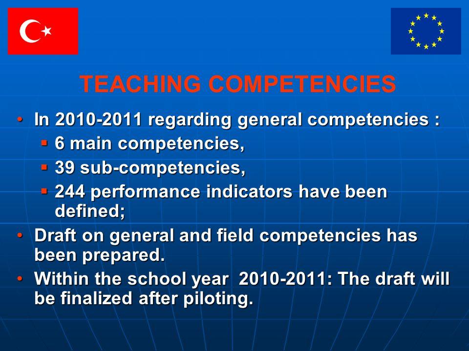 TEACHING COMPETENCIES In 2010-2011 regarding general competencies :In 2010-2011 regarding general competencies : 6 main competencies, 6 main competenc
