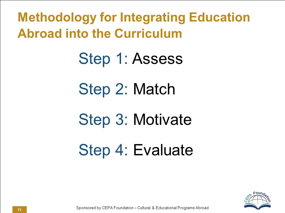 Sponsored by CEPA Foundation – Cultural & Educational Programs Abroad Methodology for Integrating Education Abroad into the Curriculum Step 1: Assess Step 2: Match Step 3: Motivate Step 4: Evaluate 11
