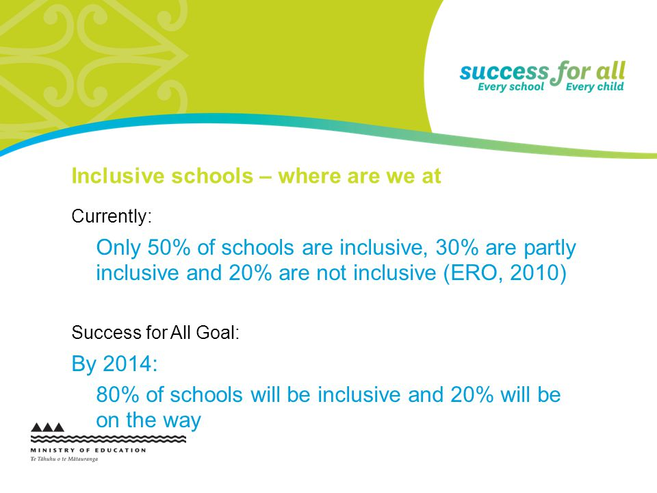 Inclusive schools – where are we at Currently: Only 50% of schools are inclusive, 30% are partly inclusive and 20% are not inclusive (ERO, 2010) Success for All Goal: By 2014: 80% of schools will be inclusive and 20% will be on the way