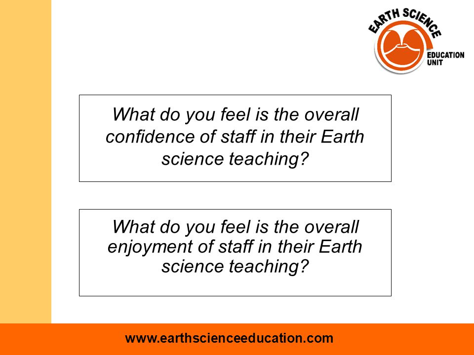www.earthscienceeducation.com Likert scale where 1 is high, 5 is low mean = 3.7 mean = 4.6 Amount of practical work Amount of fieldwork Amount of Sc1 investigational work