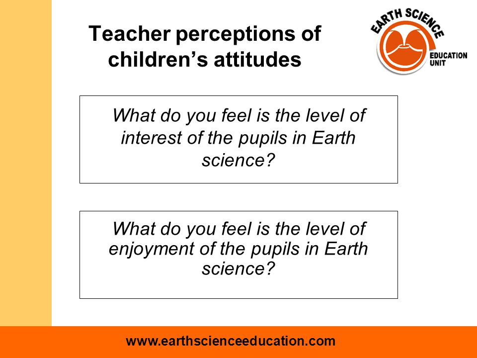 www.earthscienceeducation.com Likert scale where 1 is high, 5 is low mean = 3.2 mean = 3.3