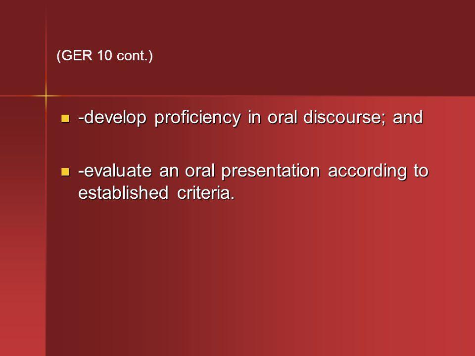 -develop proficiency in oral discourse; and -develop proficiency in oral discourse; and -evaluate an oral presentation according to established criteria.