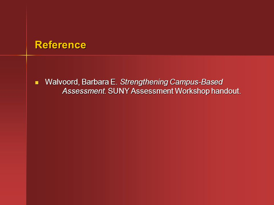 Reference Walvoord, Barbara E. Strengthening Campus-Based Assessment.