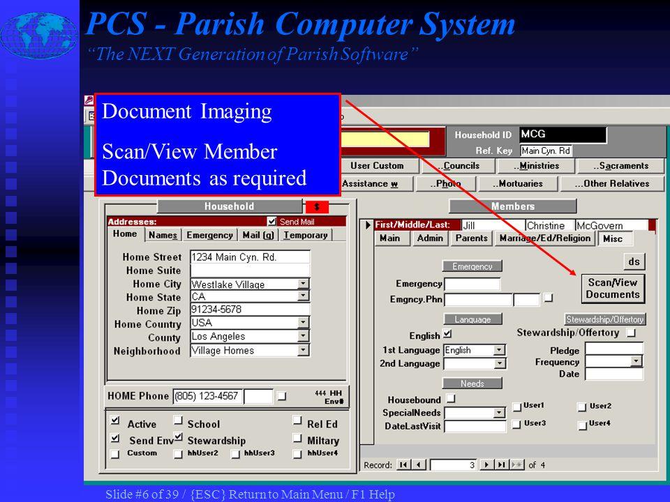 Slide #16 of 39 / {ESC} Return to Main Menu / F1 Help Record Health Information PCS - Parish Computer System The NEXT Generation of Parish Software