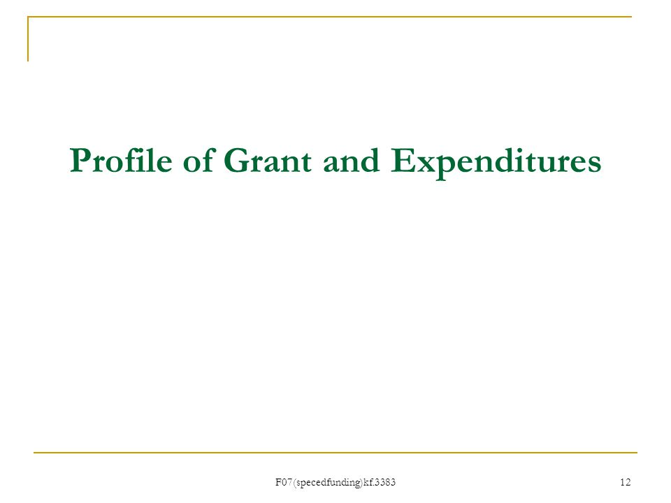 Profile of Grant and Expenditures F07(specedfunding)kf