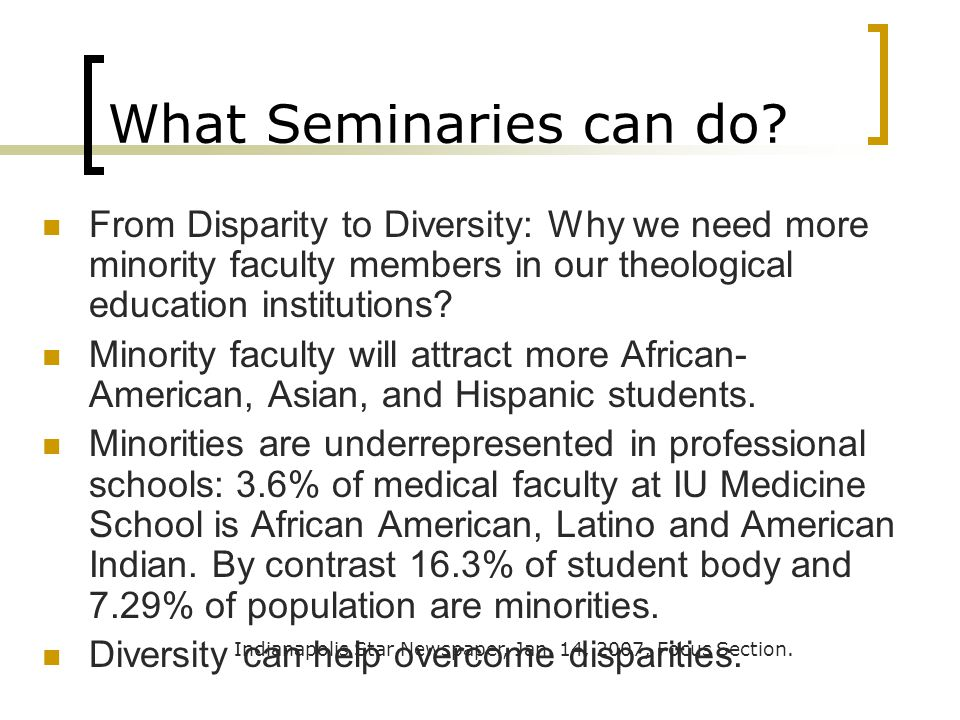 What Seminaries can do.