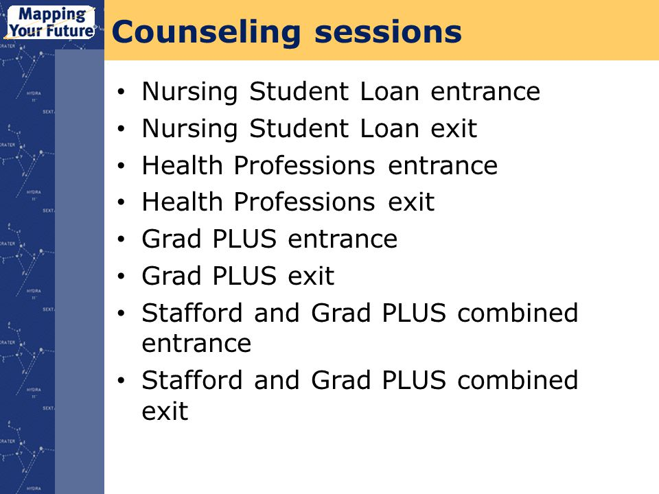 Counseling sessions Nursing Student Loan entrance Nursing Student Loan exit Health Professions entrance Health Professions exit Grad PLUS entrance Grad PLUS exit Stafford and Grad PLUS combined entrance Stafford and Grad PLUS combined exit