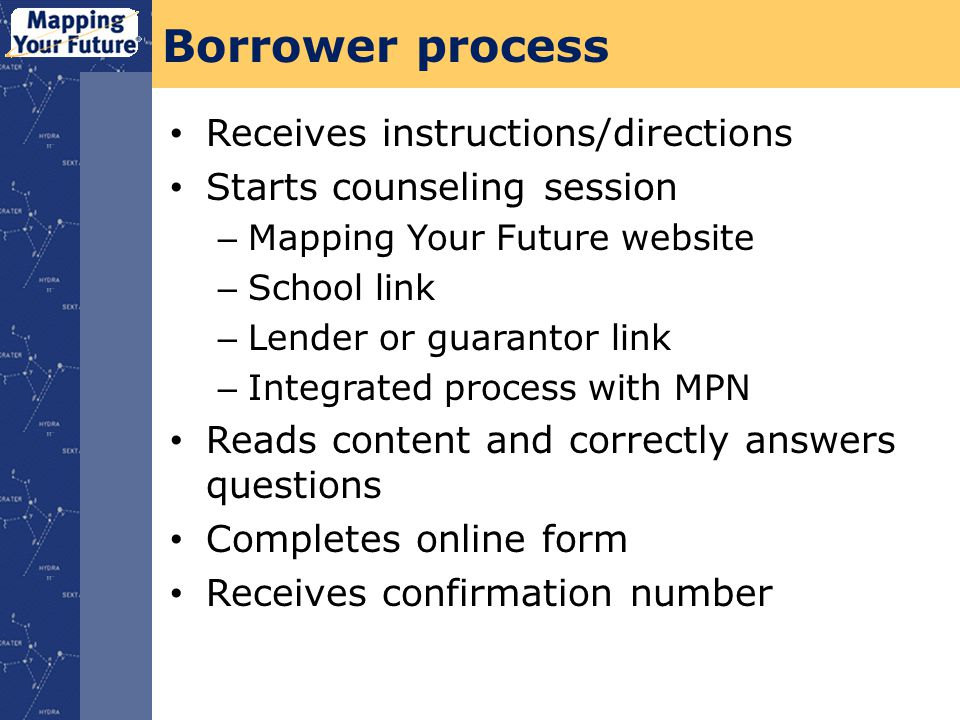 Borrower process Receives instructions/directions Starts counseling session – Mapping Your Future website – School link – Lender or guarantor link – Integrated process with MPN Reads content and correctly answers questions Completes online form Receives confirmation number