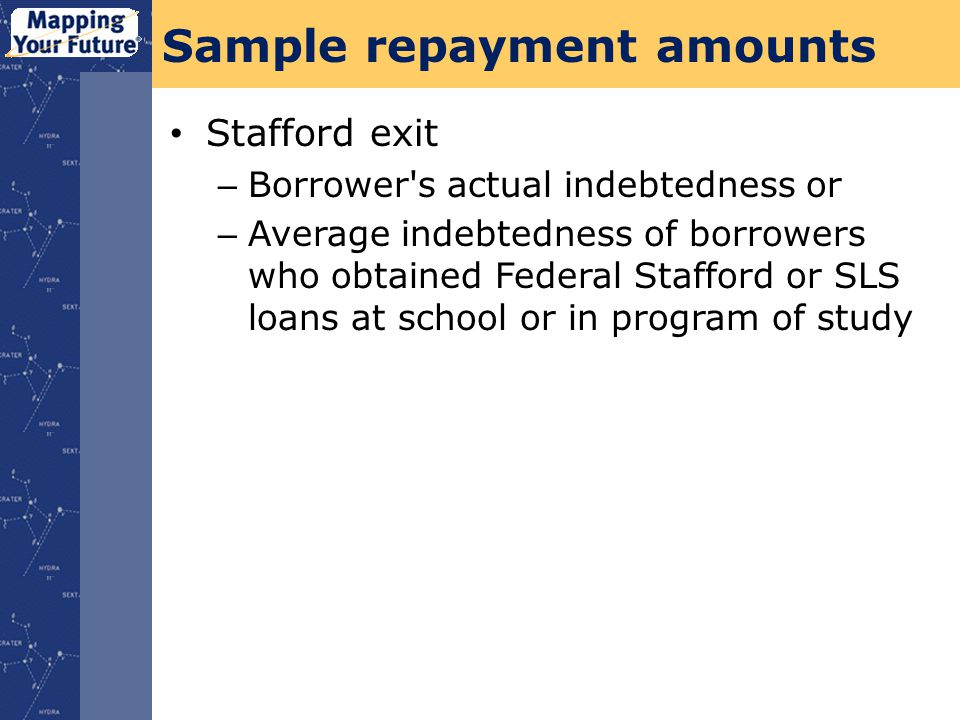 Sample repayment amounts Stafford exit – Borrower s actual indebtedness or – Average indebtedness of borrowers who obtained Federal Stafford or SLS loans at school or in program of study