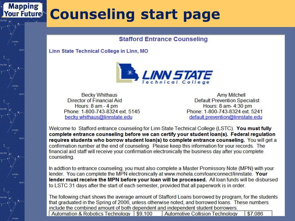 Counseling start page