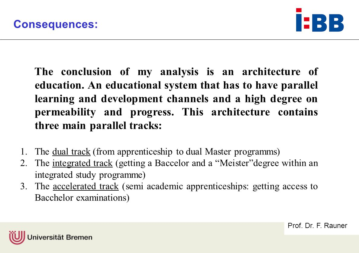 Prof. Dr. F. Rauner Consequences: The conclusion of my analysis is an architecture of education.