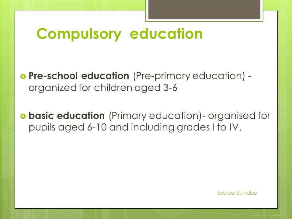 Compulsory education Pre-school education (Pre-primary education) - organized for children aged 3-6 basic education (Primary education)- organised for