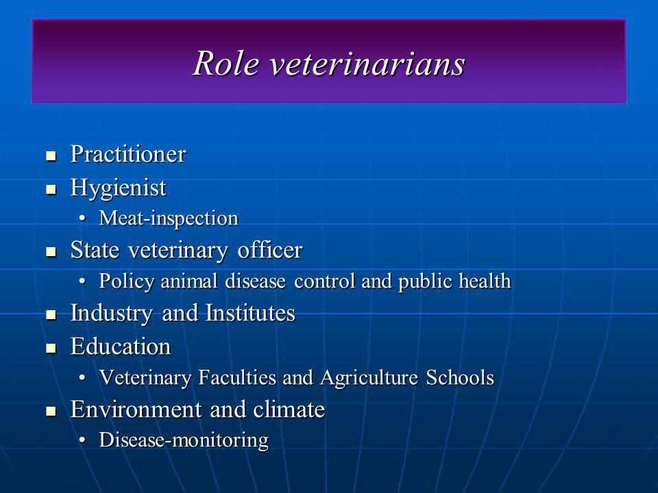 Role veterinarians Practitioner Practitioner Hygienist Hygienist Meat-inspectionMeat-inspection State veterinary officer State veterinary officer Policy animal disease control and public healthPolicy animal disease control and public health Industry and Institutes Industry and Institutes Education Education Veterinary Faculties and Agriculture SchoolsVeterinary Faculties and Agriculture Schools Environment and climate Environment and climate Disease-monitoringDisease-monitoring