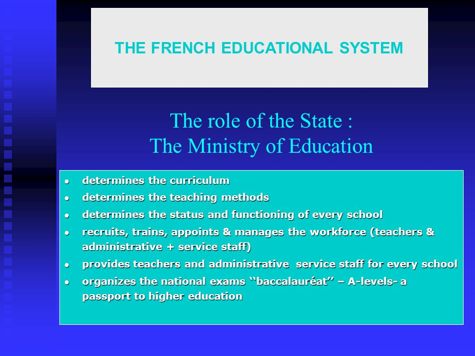 The role of the State : The Ministry of Education determines the curriculum determines the curriculum determines the teaching methods determines the teaching methods determines the status and functioning of every school determines the status and functioning of every school recruits, trains, appoints & manages the workforce (teachers & administrative + service staff) recruits, trains, appoints & manages the workforce (teachers & administrative + service staff) provides teachers and administrative service staff for every school provides teachers and administrative service staff for every school organizes the national exams baccalauréat – A-levels- a passport to higher education organizes the national exams baccalauréat – A-levels- a passport to higher education THE FRENCH EDUCATIONAL SYSTEM