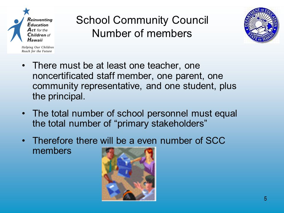 5 School Community Council Number of members There must be at least one teacher, one noncertificated staff member, one parent, one community representative, and one student, plus the principal.