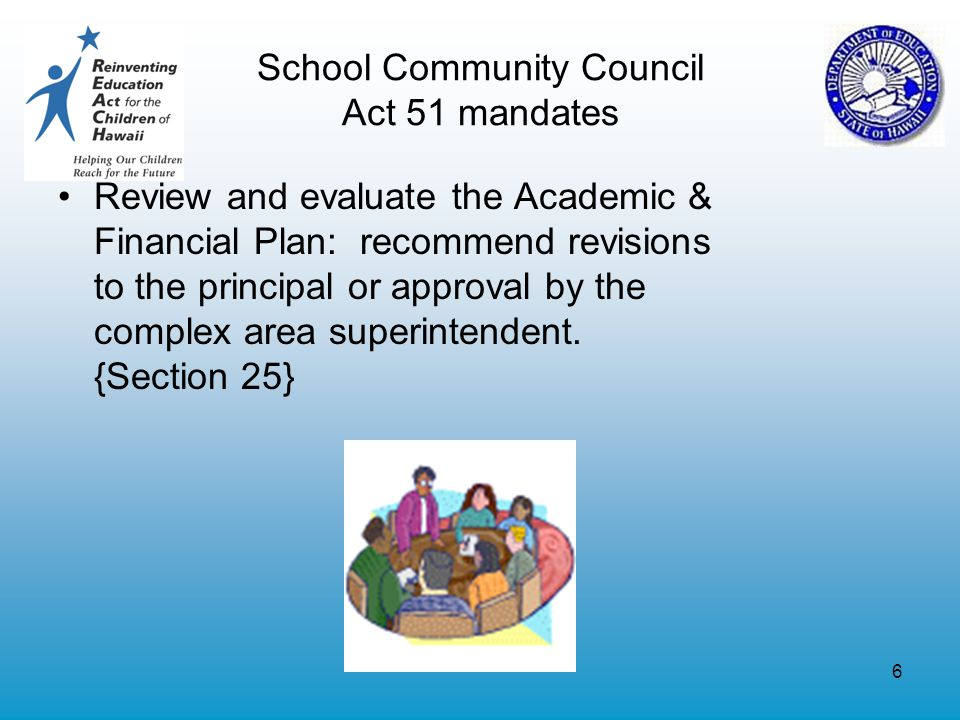6 School Community Council Act 51 mandates Review and evaluate the Academic & Financial Plan: recommend revisions to the principal or approval by the complex area superintendent.