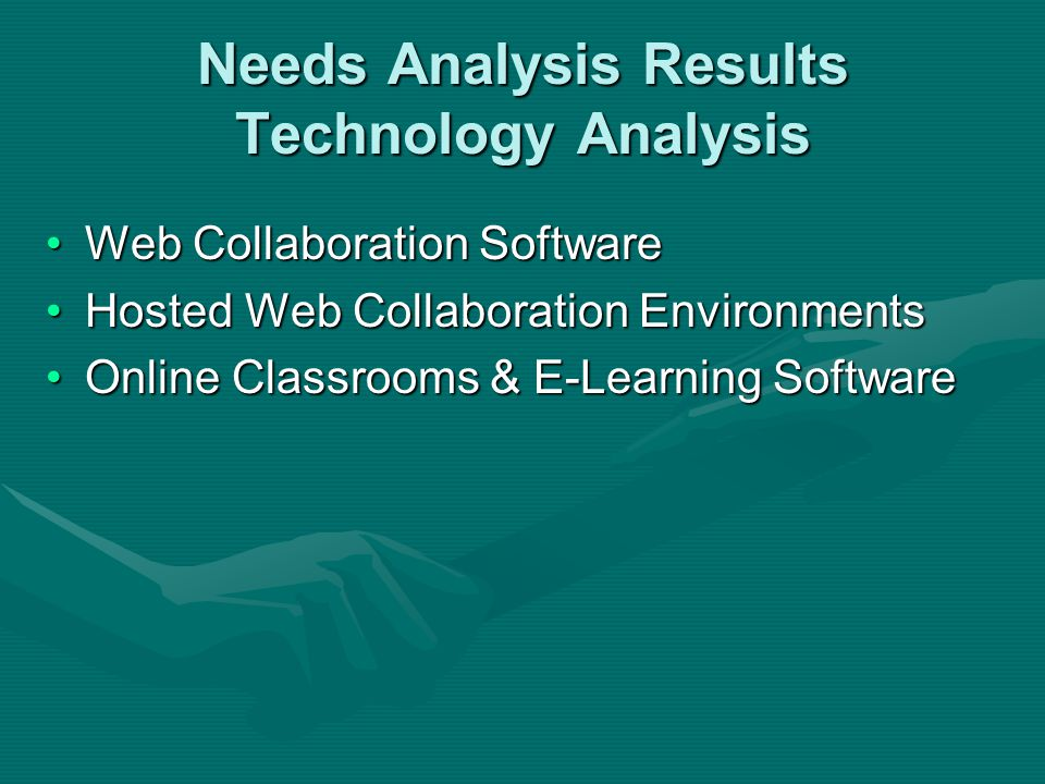Needs Analysis Results Technology Analysis Web Collaboration SoftwareWeb Collaboration Software Hosted Web Collaboration EnvironmentsHosted Web Collab