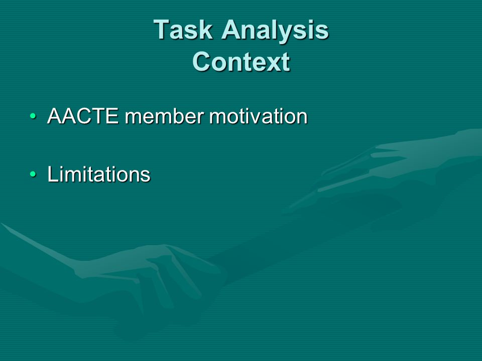 Task Analysis Context AACTE member motivationAACTE member motivation LimitationsLimitations
