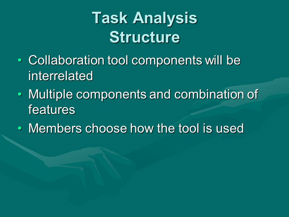 Task Analysis Structure Collaboration tool components will be interrelatedCollaboration tool components will be interrelated Multiple components and c