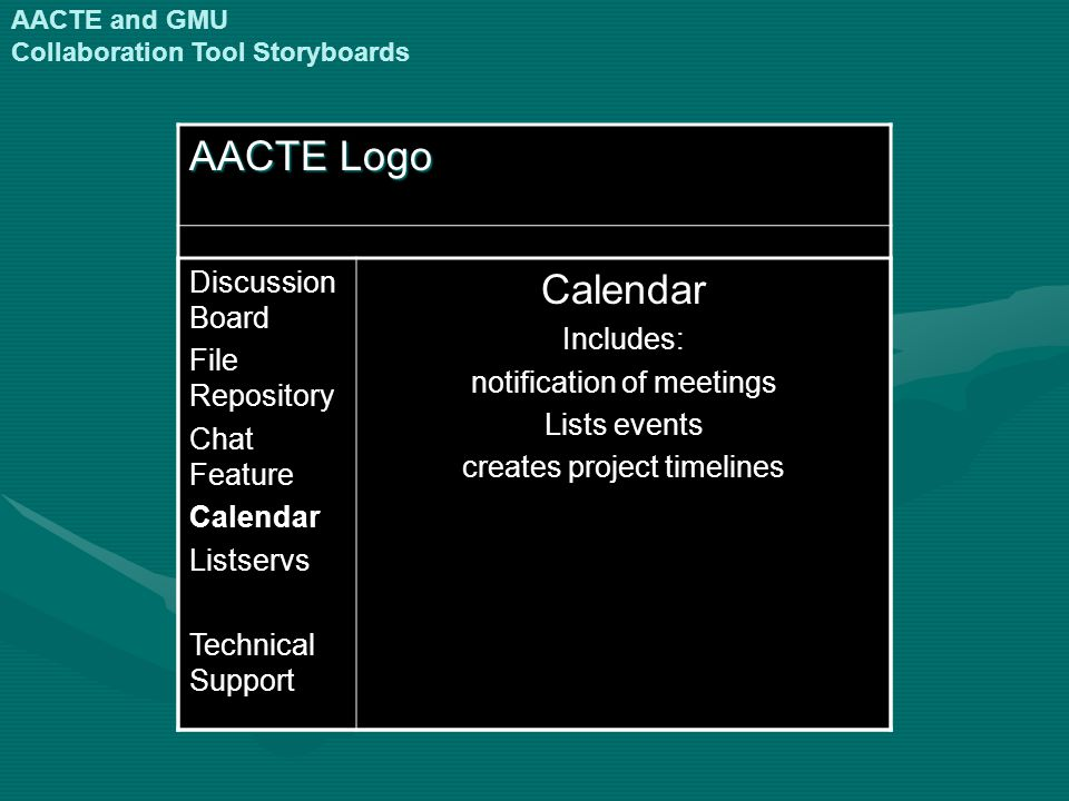 AACTE Logo Discussion Board File Repository Chat Feature CalendarListservs Technical Support CalendarIncludes: notification of meetings Lists events creates project timelines AACTE and GMU Collaboration Tool Storyboards