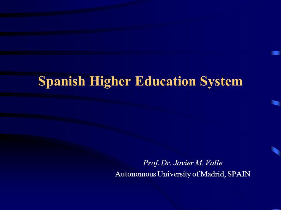 Spanish Higher Education System Prof. Dr. Javier M. Valle Autonomous University of Madrid, SPAIN