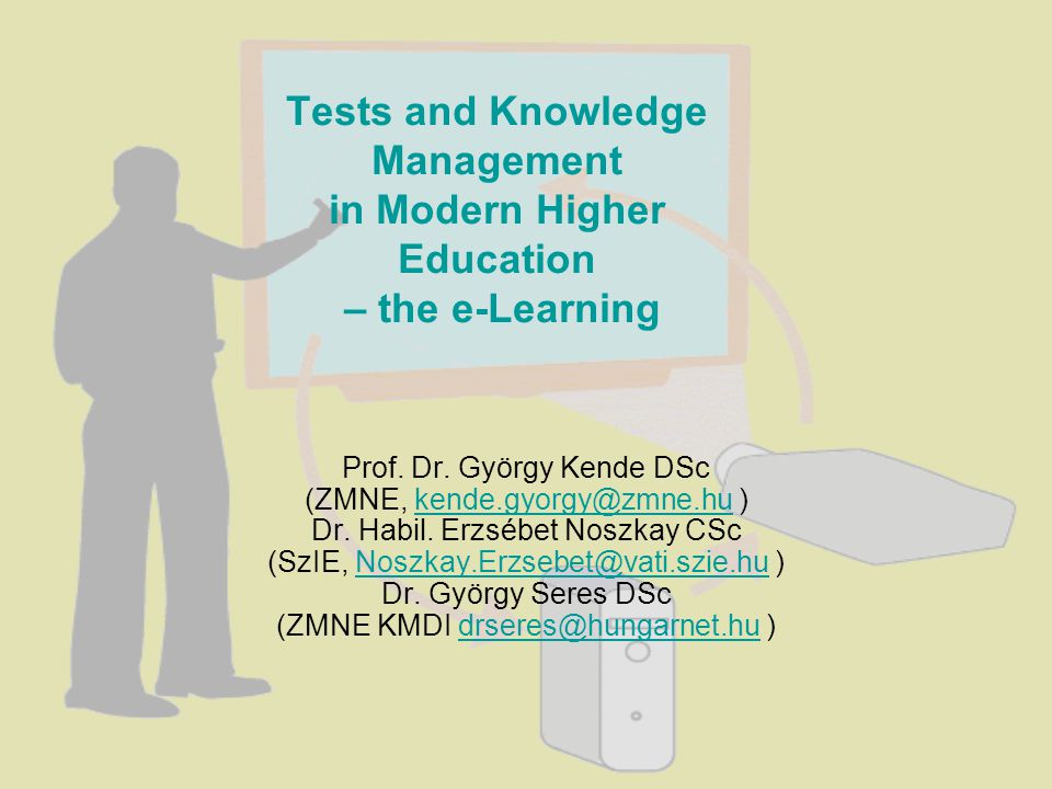Knowledge based e-tutoring The e-tests online Usually e-tests are used off-line for self checking of e- students But e-tests can be used for checking of students knowledge on-line too under e-teachers control with special software For example we present an on-line e-test with SynchronEyes program An e-class of e-students and their e-teacher are connected to a workgroup in the e-classroom by way of universitys intranet and/or internet