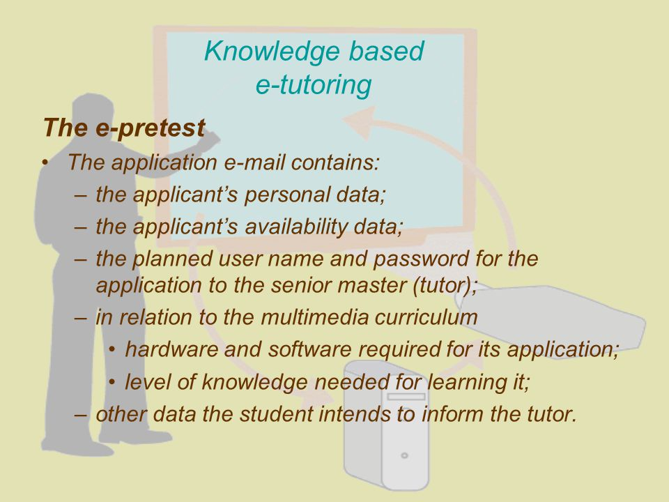 Knowledge based e-tutoring The e-pretest The application e-mail contains: –the applicants personal data; –the applicants availability data; –the planned user name and password for the application to the senior master (tutor); –in relation to the multimedia curriculum hardware and software required for its application; level of knowledge needed for learning it; –other data the student intends to inform the tutor.
